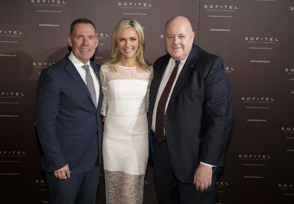 Mr Simon McGrath (AccorHotels Chief Operating Officer Pacific), Ms Jacqui Felgate (Channel 7 and the MC for the evening)